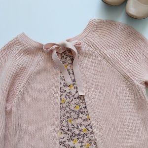 Ann Taylor Loft Knit Pink Floral Panel Sweater